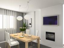 Moderne keuken. 3D geef terug Stock Fotografie