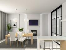 Moderne keuken. 3D geef terug Royalty-vrije Stock Afbeelding