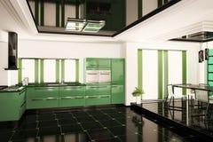 Moderne keuken binnenlandse 3d Stock Afbeelding