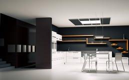 Moderne keuken binnenlandse 3d geeft terug Stock Fotografie