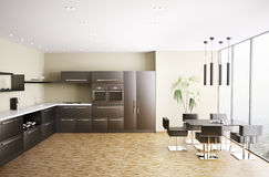 Moderne keuken binnenlandse 3d geeft terug Stock Foto