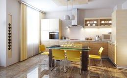 Moderne keuken binnenlandse 3d geeft terug Stock Foto's