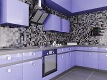 Moderne keuken binnenlandse 3d Stock Foto's