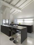 Moderne keuken in de zolder Royalty-vrije Stock Afbeeldingen
