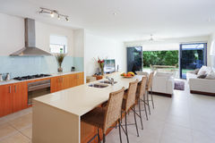 Moderne keuken en woonkamer Royalty-vrije Stock Afbeelding