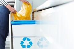 Moderne keuken met het recycling van bak stock fotografie