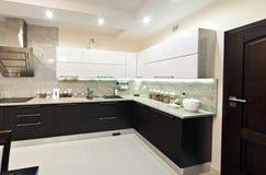 Moderne keukenmening Stock Fotografie