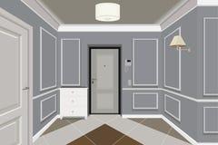 Moderne klassische Hall Hallway Corridor In Old-Weinlese-Wohnung Hallenillustration Lizenzfreie Stockfotos
