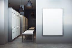 Moderne kleedkamer met lege banner Royalty-vrije Stock Afbeeldingen