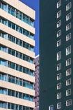 Moderne kleurrijke architectuur tegen een blauwe hemel, Tchang-tchoun, China royalty-vrije stock fotografie
