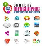 Moderne kleurrijke 3d geplaatste bannersmalplaatjes Royalty-vrije Stock Fotografie