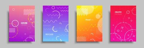 Moderne kleurrijke dekking met multi-colored geometrische vormen en voorwerpen Abstract ontwerpmalplaatje voor brochures, vlieger Royalty-vrije Stock Afbeeldingen