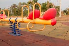 Moderne kleurrijke kinderenspeelplaats in openbaar park Royalty-vrije Stock Afbeelding