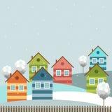 Moderne Kleurrijke Stad, de Winterthema Stock Foto