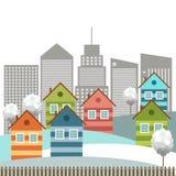 Moderne Kleurrijke Stad, de Winterthema stock illustratie