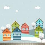Moderne Kleurrijke Stad, de Winterthema Stock Afbeelding