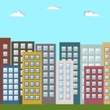 Moderne Kleurrijke Stad, Flats voor Verkoop/Huur, Real Estate vector illustratie