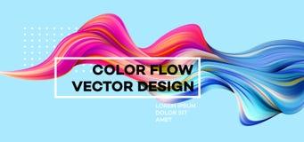 Moderne kleurrijke stroomaffiche Golf Vloeibare vorm op blauwe kleurenachtergrond Kunstontwerp voor uw ontwerpproject Vector Stock Afbeeldingen