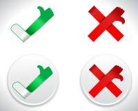 Moderne Kontrolle Mark Icons, Zecke und Kreuz mit den Daumen auf und ab Lizenzfreies Stockfoto