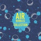 Moderne kunst abstracte banner Luchtbelleninzameling op blauwe achtergrond Stock Foto's