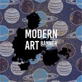 Moderne kunst abstracte banner Vector vierkant kader voor tekst Stock Afbeelding