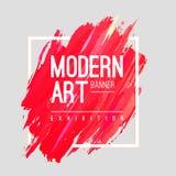 Moderne kunst abstracte banner Vector vierkant kader voor tekst met de lijnen van het kleurenpenseel zieke de verf waterverf van  vector illustratie