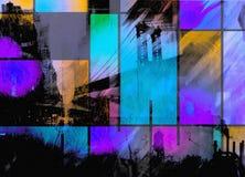 Moderne kunst geïnspireerde stadssamenvatting stock illustratie