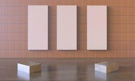 Moderne kunst het werk en Omlijsting Drie op Muur Royalty-vrije Stock Foto's