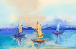 Moderne kunstolieverfschilderijen met boot, zeil op overzees Abstracte eigentijdse kunst voor achtergrond royalty-vrije illustratie