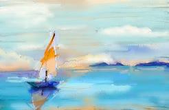 Moderne kunstolieverfschilderijen met boot, zeil op overzees Samenvatting contem vector illustratie