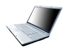 Moderne laptop die op het wit wordt geïsoleerdh stock foto