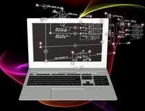 moderne laptop die op witte achtergrond wordt geïsoleerdd Royalty-vrije Stock Foto