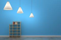 Moderne leere blaue Wand und Lampe weiß und moderner leerer Ziegelstein wal Lizenzfreie Stockbilder