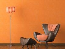 Moderne leerlaag op oranje muur Royalty-vrije Stock Fotografie