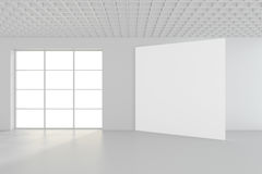 Moderne lege ruimte met wit aanplakbord 3d geef terug Stock Foto
