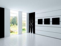 Moderne Lege Witte Zaal | Architectuurbinnenland Royalty-vrije Stock Foto