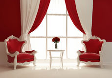 Moderne Lehnsessel durch das Fenster im königlichen Innenraum Stockbilder