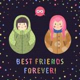 Moderne leuke en grappige beeldverhaal Russische poppen (donkerbruin en roze haar) Beste vrienden voor altijd kaart en achtergron Stock Fotografie