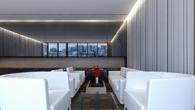 Moderne Lobbywiedergabe Aufenthaltsraum/3D Lizenzfreie Stockfotos