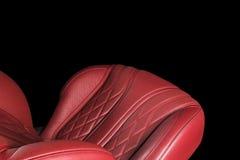 Moderne Luxeauto binnen Binnenland van prestige moderne auto Comfortabele leerzetels Rode geperforeerde leercockpit Het sturen wh stock afbeelding