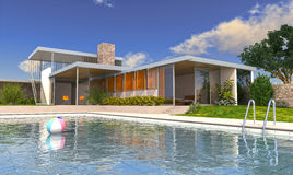 Moderne luxevilla met zwembad. Stock Afbeelding
