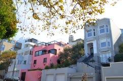 Moderne, luxueuze huizen in San Francisco, Californië Royalty-vrije Stock Afbeeldingen