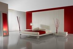 slaapkamer met rode muur stock foto's  slaapkamer met rode, Meubels Ideeën