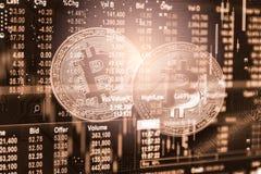 Moderne manier van uitwisseling Bitcoin is geschikte betaling in globaal Royalty-vrije Stock Foto