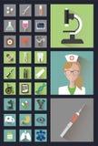 Moderne medizinische Ikonen in der Art flach Stockfotos