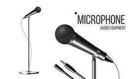 Moderne Microfoon met Tribunevector Prestatie-object Geïsoleerd Mic Verslagstadium Leef Overleg Illustratie royalty-vrije illustratie
