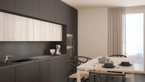 Moderne minimale graue Küche mit Bretterboden, klassischer Innenraum Stockfotografie