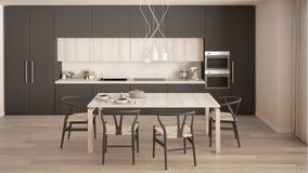 Moderne minimale grijze keuken met houten vloer, klassiek binnenland Stock Afbeelding