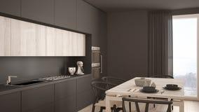 Moderne minimale grijze keuken met houten vloer, klassiek binnenland Royalty-vrije Stock Foto