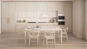Moderne minimale witte keuken met houten vloer, klassiek binnenland Royalty-vrije Stock Fotografie